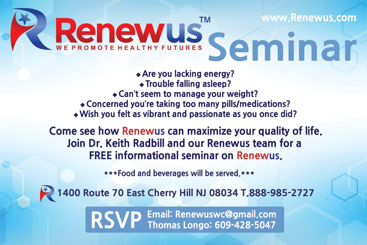 Sign up poster for Seminar: Experience alternative therapy at Renewus